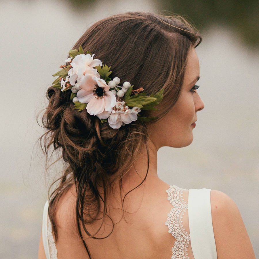 annabelle flower hair comb | side bun | bridesmaid hair