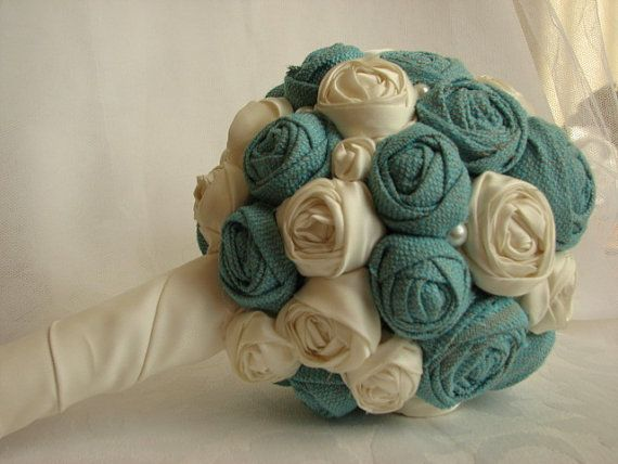 Fabric bridal bouquet Ivory with turquiose by WhiteBridalBoutique, $55.00
