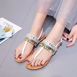 6864bc3e41c2 Rhinestone Thong Block Heel Women s Sandals  fashion  beautiful  tops   style  women  Shoes