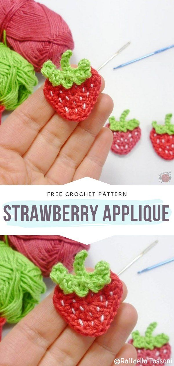Strawberry Applique Free Crochet Pattern Do you miss the summer fruit already? Obviously, we all do! The is still some time left until we will be able to taste fresh strawberries again but these appliques will make the waiting much more bearable. Aren't they so lovely? #crochetfruit #crochetvegetable #crochetapplique #freecrochetpattern