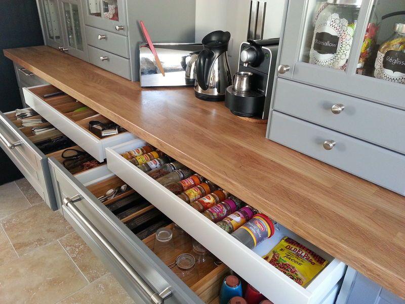 rangement cuisine grand tiroir organisation maison. Black Bedroom Furniture Sets. Home Design Ideas