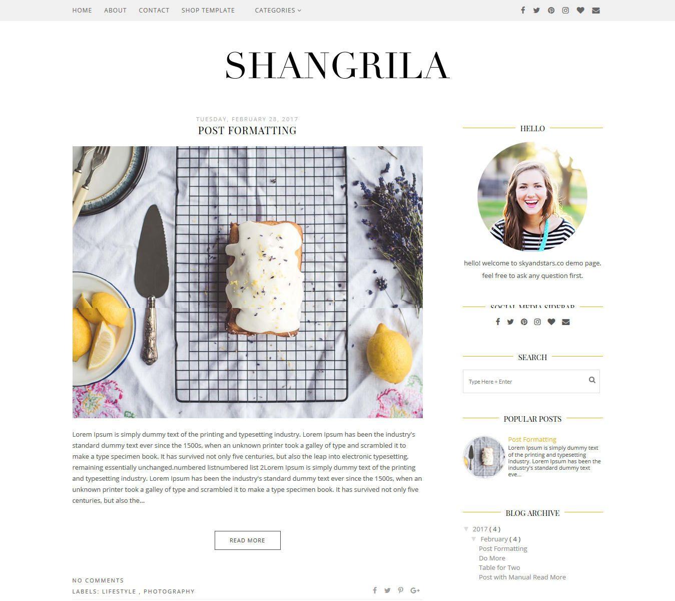 "NEW ""Shangrila"" Blogger Template Premade Blogger"