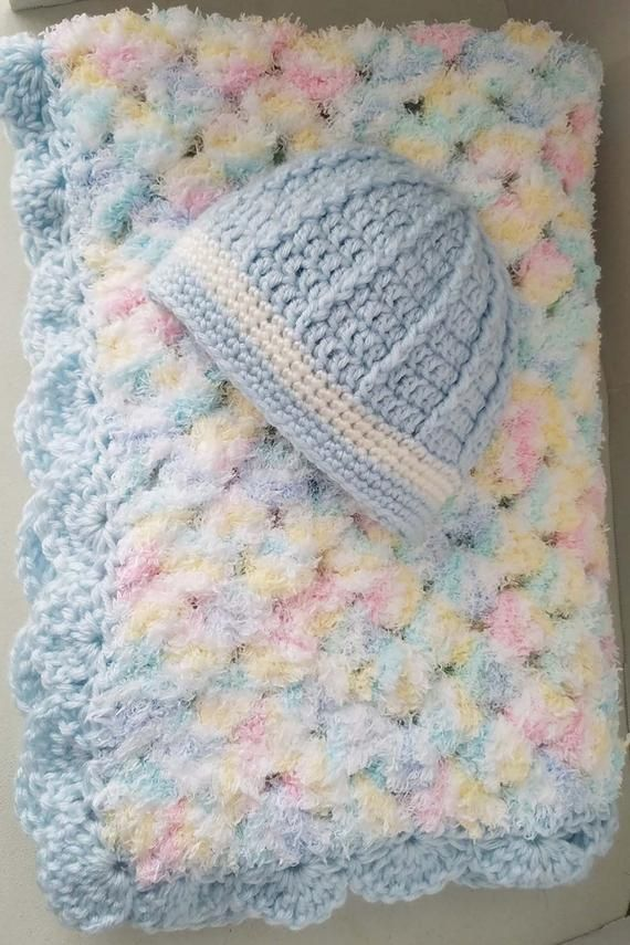 Blankets & Throws Beautiful Blue Crocheted Baby Blanket High Quality Goods Baby