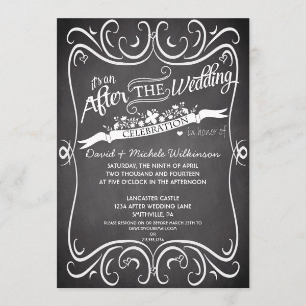 99+ Flowers & Swirls Chalkboard After Wedding IDPP2 Invitation   Zazzle.com
