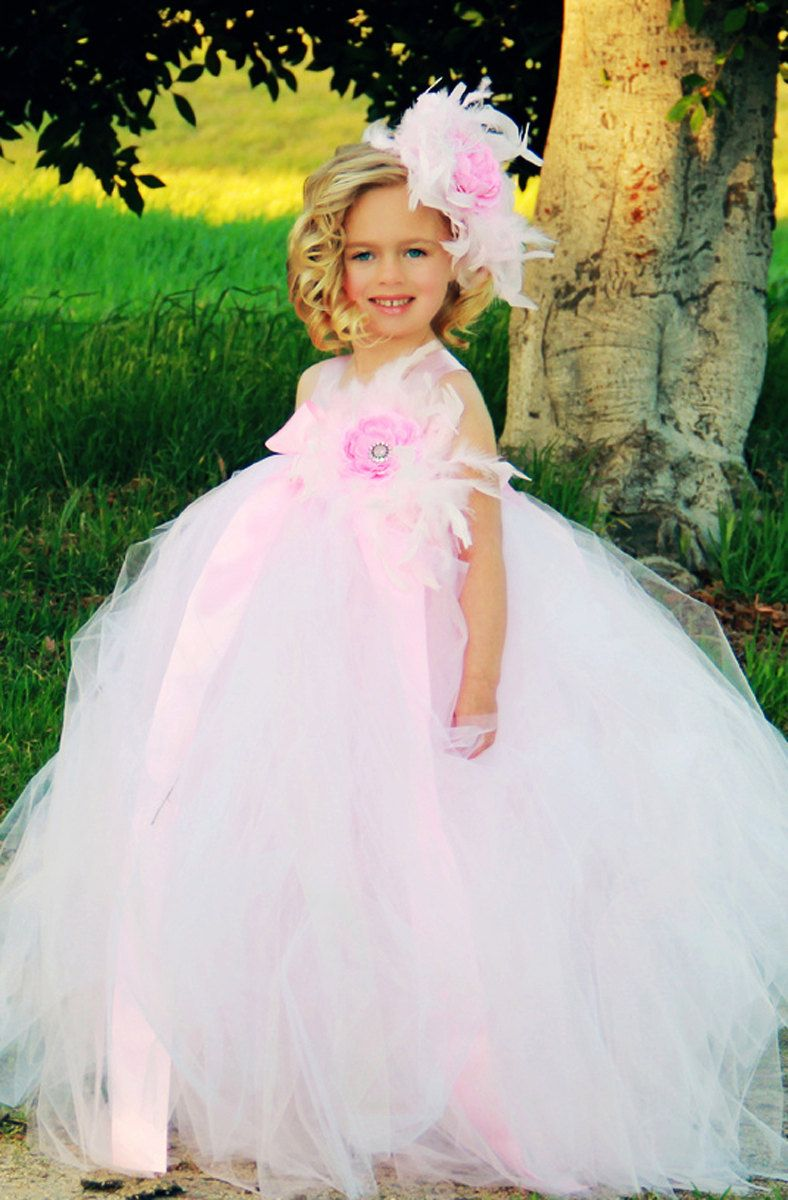 Flower girl tutu dress pink romance by sweetgigglesboutique