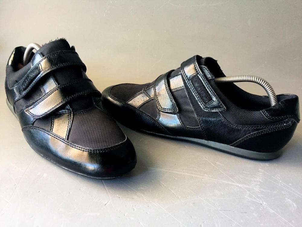Calvin Klein Mens Black Mocs Mocassins Drivers Sz 11m Leather Black Velcro Close Calvinklein Drivingmoccasins All Black Sneakers Driving Moccasins Mocassins