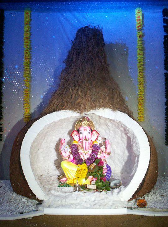 Set Design Ganpati In Coconut 011 On Behance Ganpati