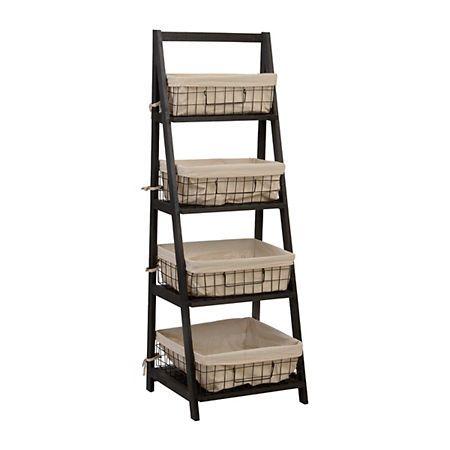 Black Storage Basket Wooden Ladder Shelf Wooden Ladder Shelf
