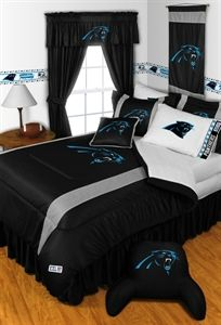 7ae9a8527e0 Carolina Panthers Sidelines Five Piece Sports Bedding set with bedroom  accessories.