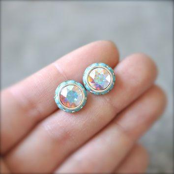 Aurora Borealis Stud Earrings Swarovski Crystal Northern Lights Pastel Rainbow Opaque Turquoise Rhinestone Studs Sugar Sparklers