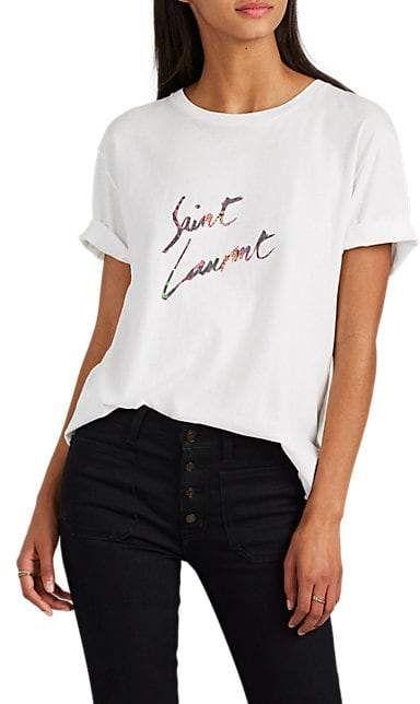 Saint Laurent Women's Logo Cotton T-Shirt - White