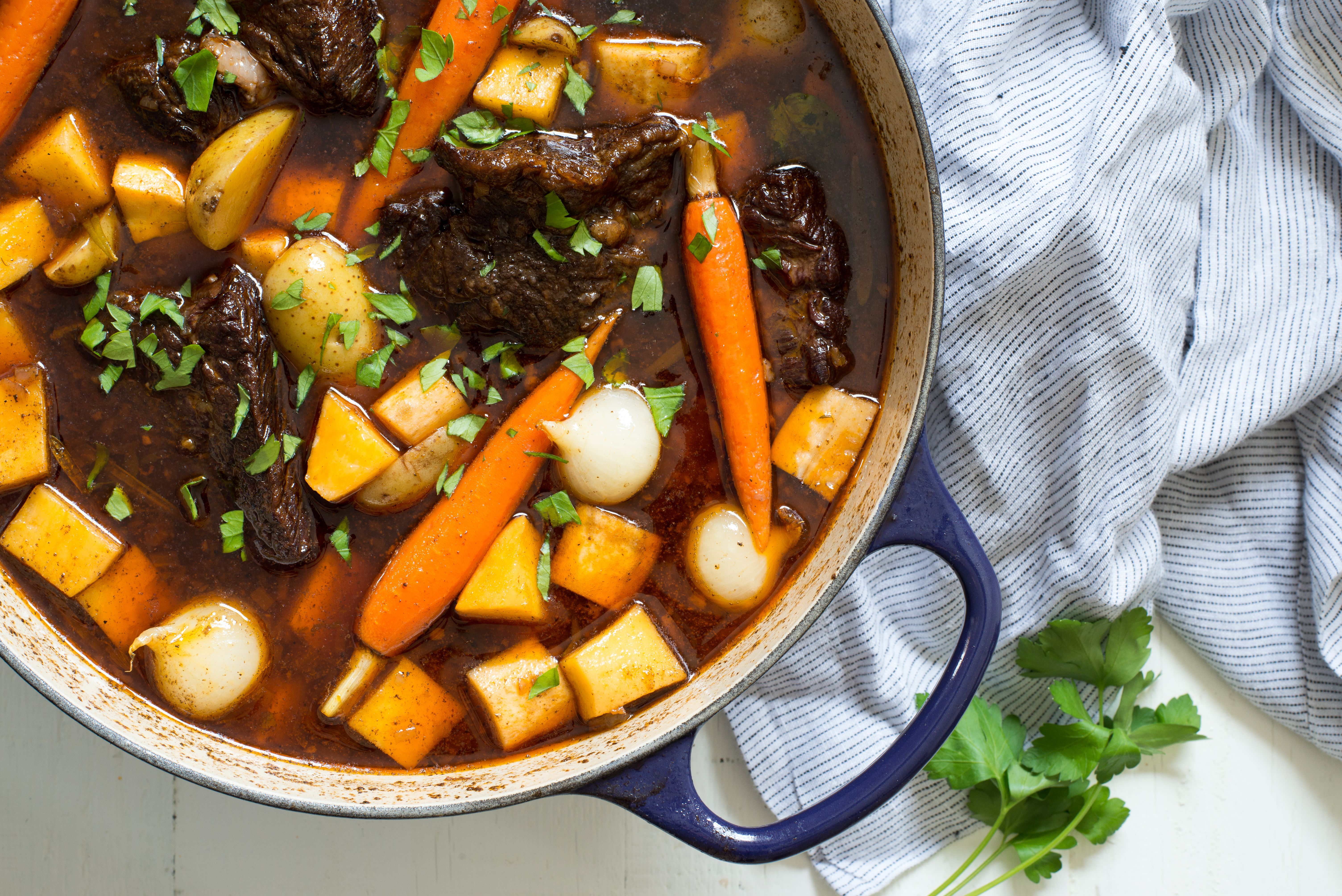 22 Big Cooking Projects for a Snow Day   Root Vegetable Beef Stew with Mushroom and Spinach Polenta