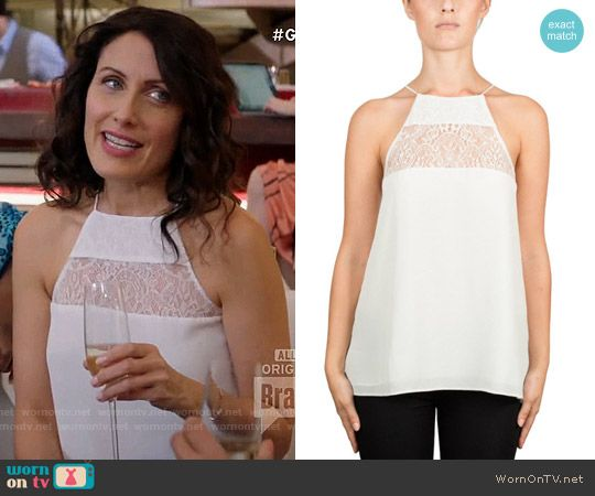 caee135e6dd435 Abby s white lace panel cami on Girlfriends Guide to Divorce. Outfit  Details  https