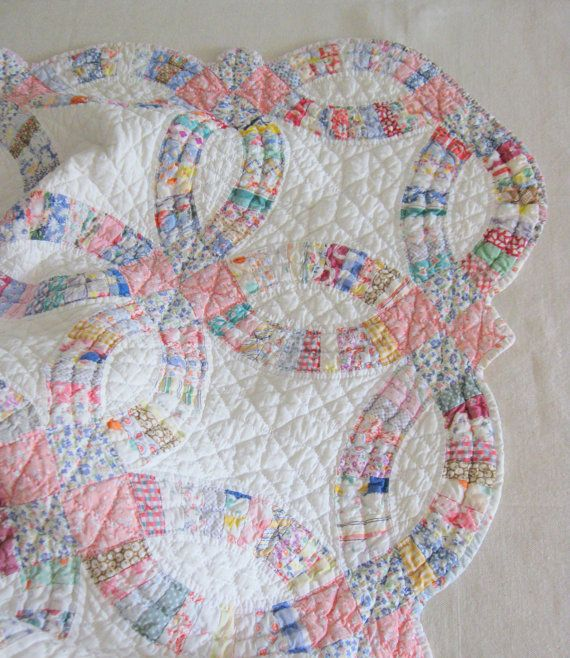 Antique Quilt Double Wedding Ring Quilt Hand Made Multi Color