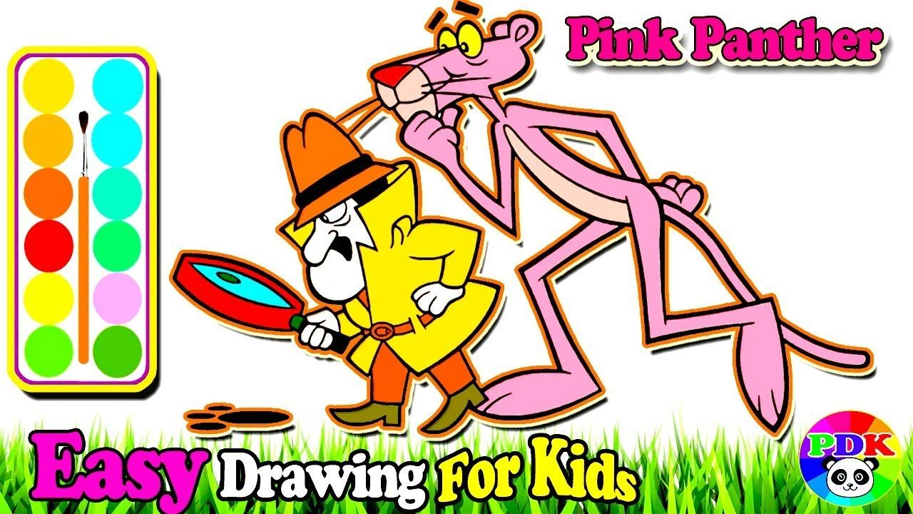How To Draw Pink Panther Coloring Learn Painting Colors For Toddlers Abc Coloring Pages Toddler Drawing Easy Drawings For Kids