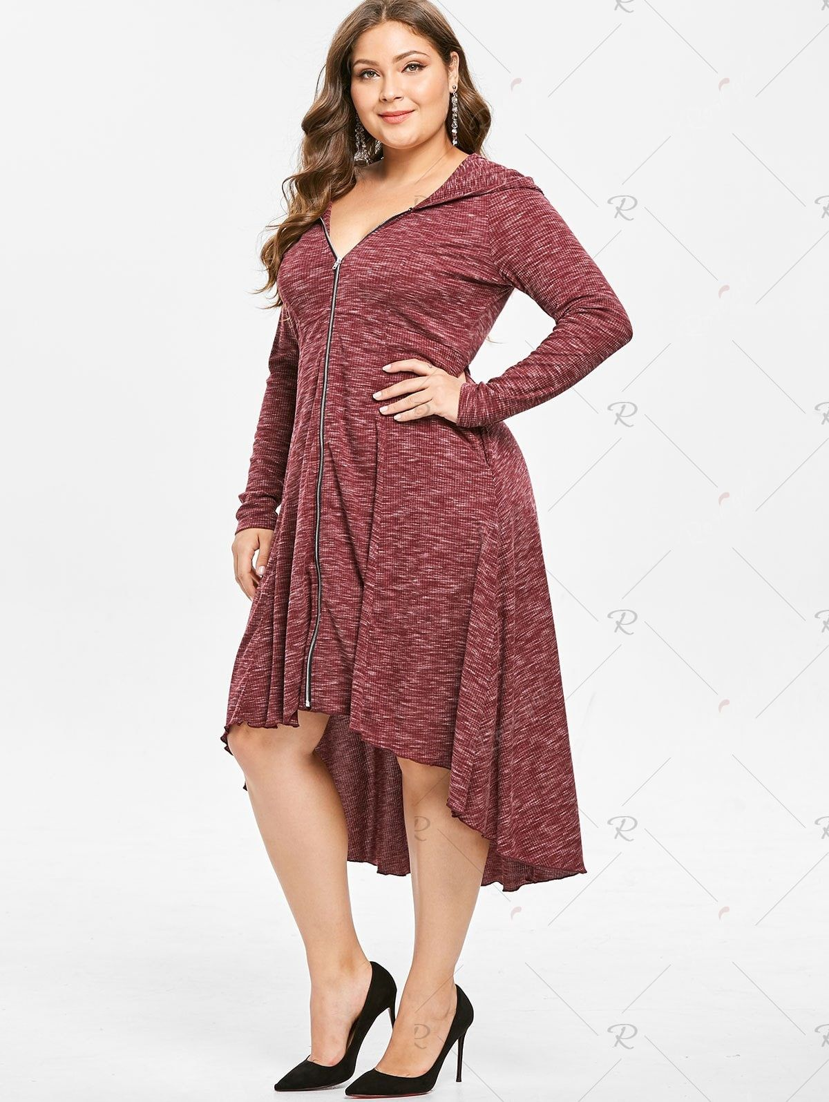 9bb8231021dd Plus Size Zip Front Hooded Long Sleeve High Low Dress | wishlist ...