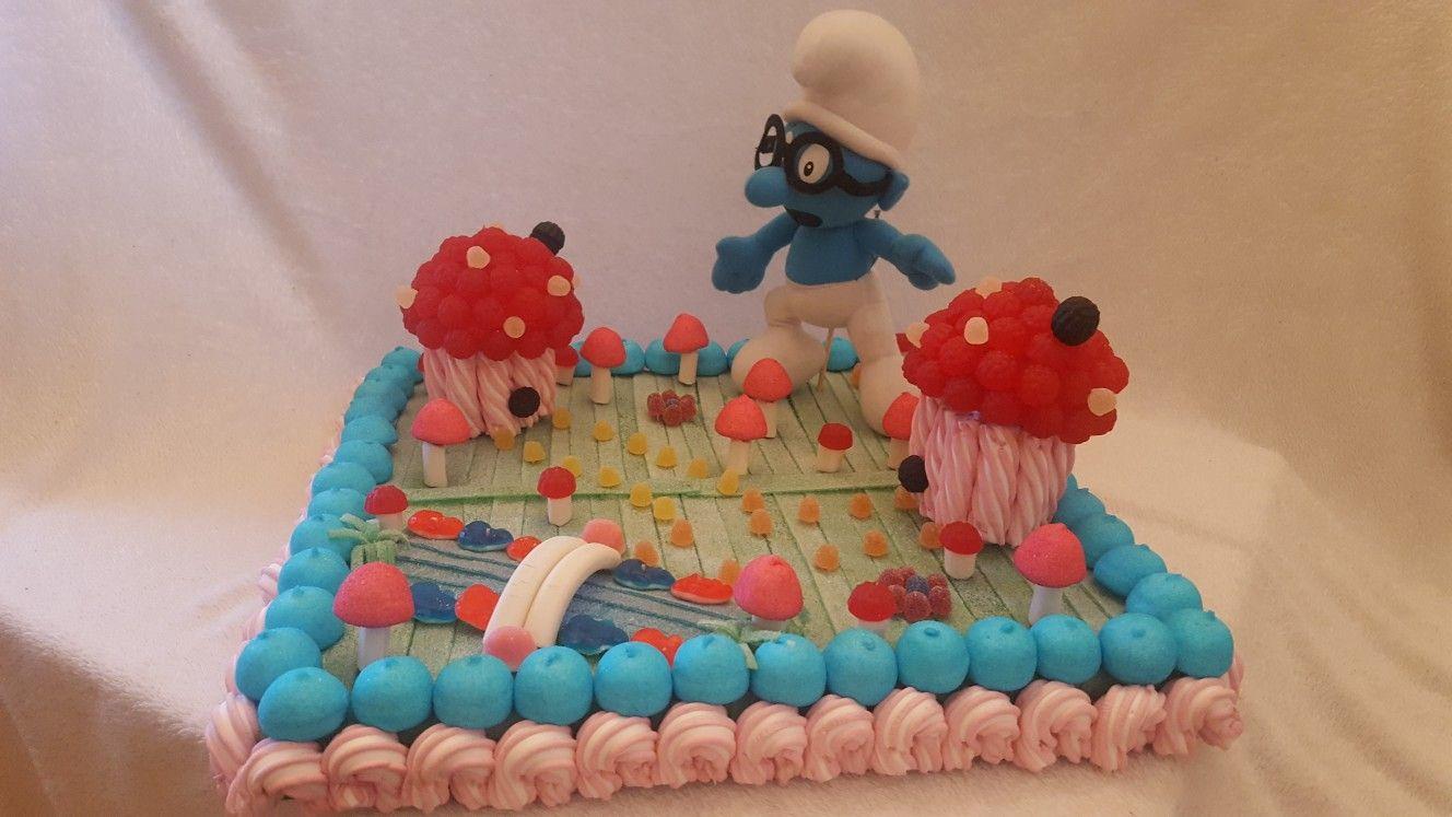 31941739453 Aldea Pitufa Cumple Dani 4 | Cupcake | Tartas, Tartas de chuches