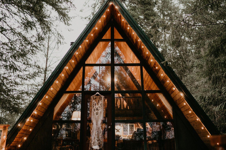 Cozy A Frame Cabin Pack Wood Washington Wedding Dress Rue De Seine Pnw Rain Forest Rainier National Park Mount Rainier National Park Washington Wedding Venues