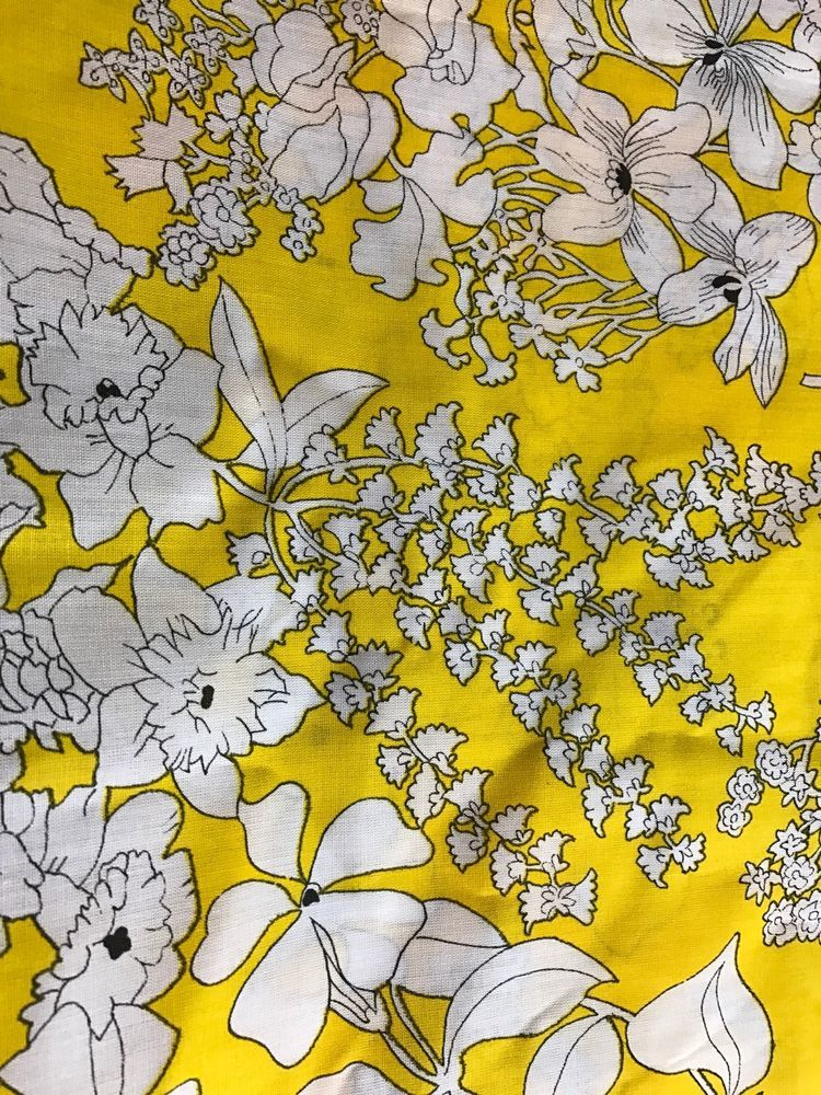 "Vintage Fabric Hawaiian Floral Yellow Rust 2.66 Yards X 40""W #Unknown #Fabric"