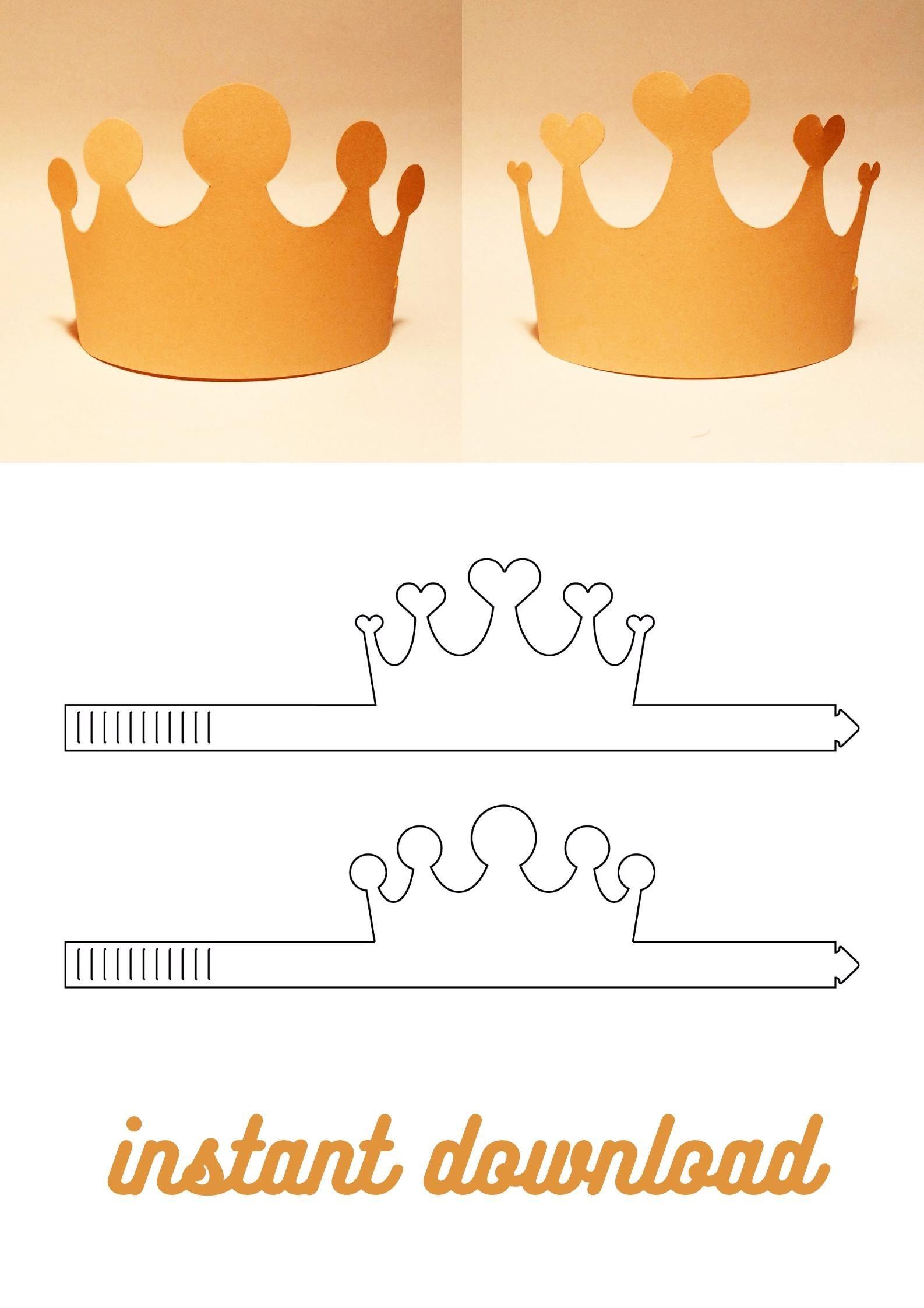 Paper Crown Template Party Crown Printable Crown Birthday Crown Svg Dxf Pdf Cricut Silhouette 8 5x11 A4 A3 Video Video In 2021 Paper Crowns Crown Template Birthday Crown