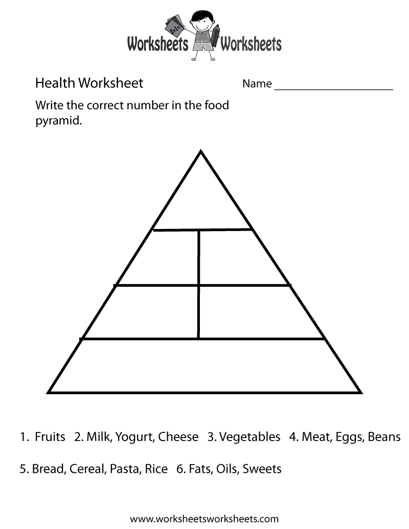 Food Pyramid Health Worksheet Printable | Church | Pinterest ...