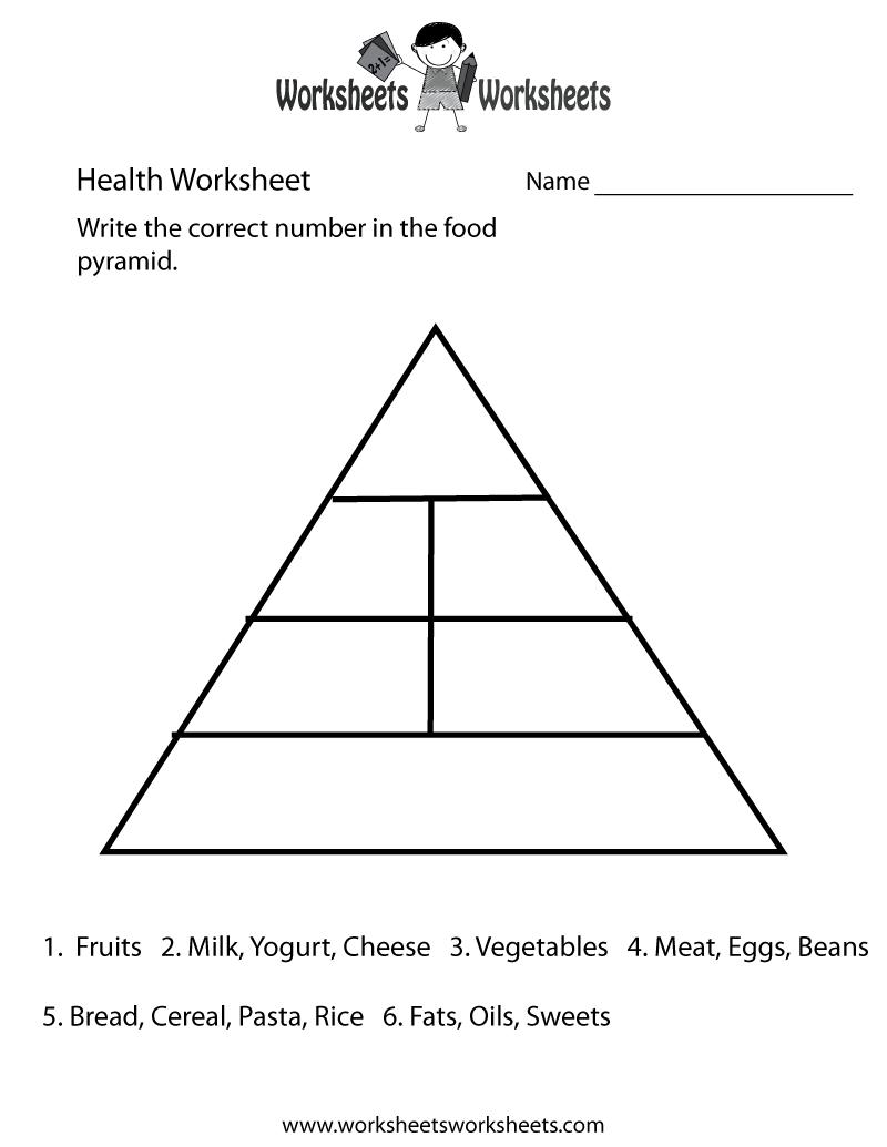 Food Pyramid Health Worksheet Printable   Food pyramid [ 1035 x 800 Pixel ]