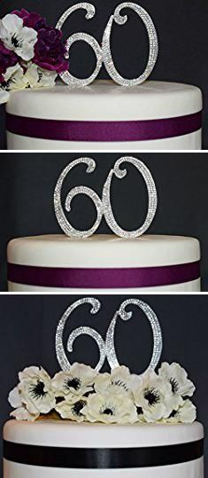 60th Birthday Cake Toppers Bling 60 Topper Anniversary