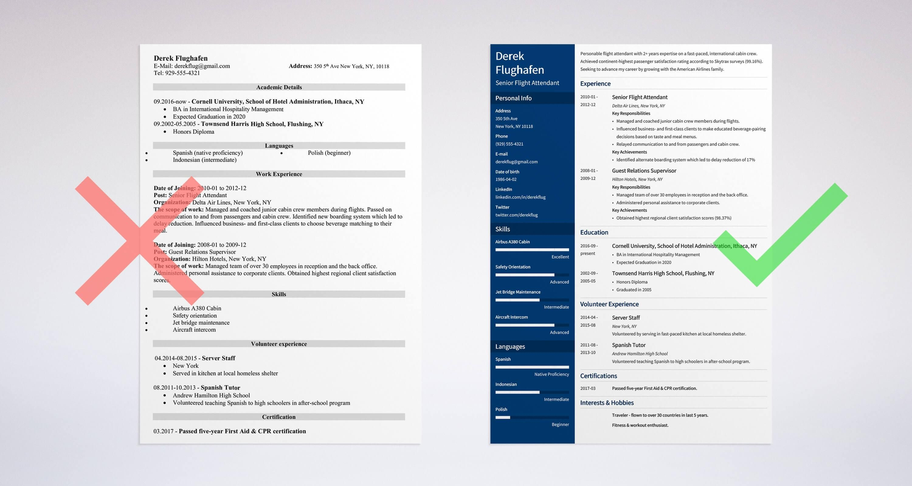 Flight Attendant Resume Example Right Vs Wrong  Career Guides