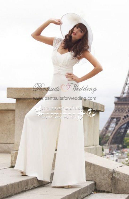 b5f797361f69 Ivory Chiffon wedding bridal jumpsuit wide legs sposa pantalone with lace BA -013