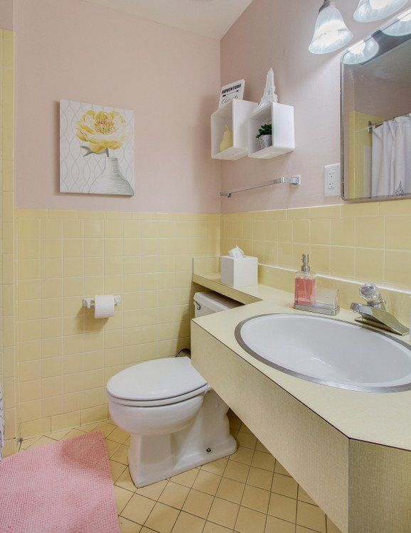 sherwin-williams malted milk with vintage yellow tile in bathroom makeover