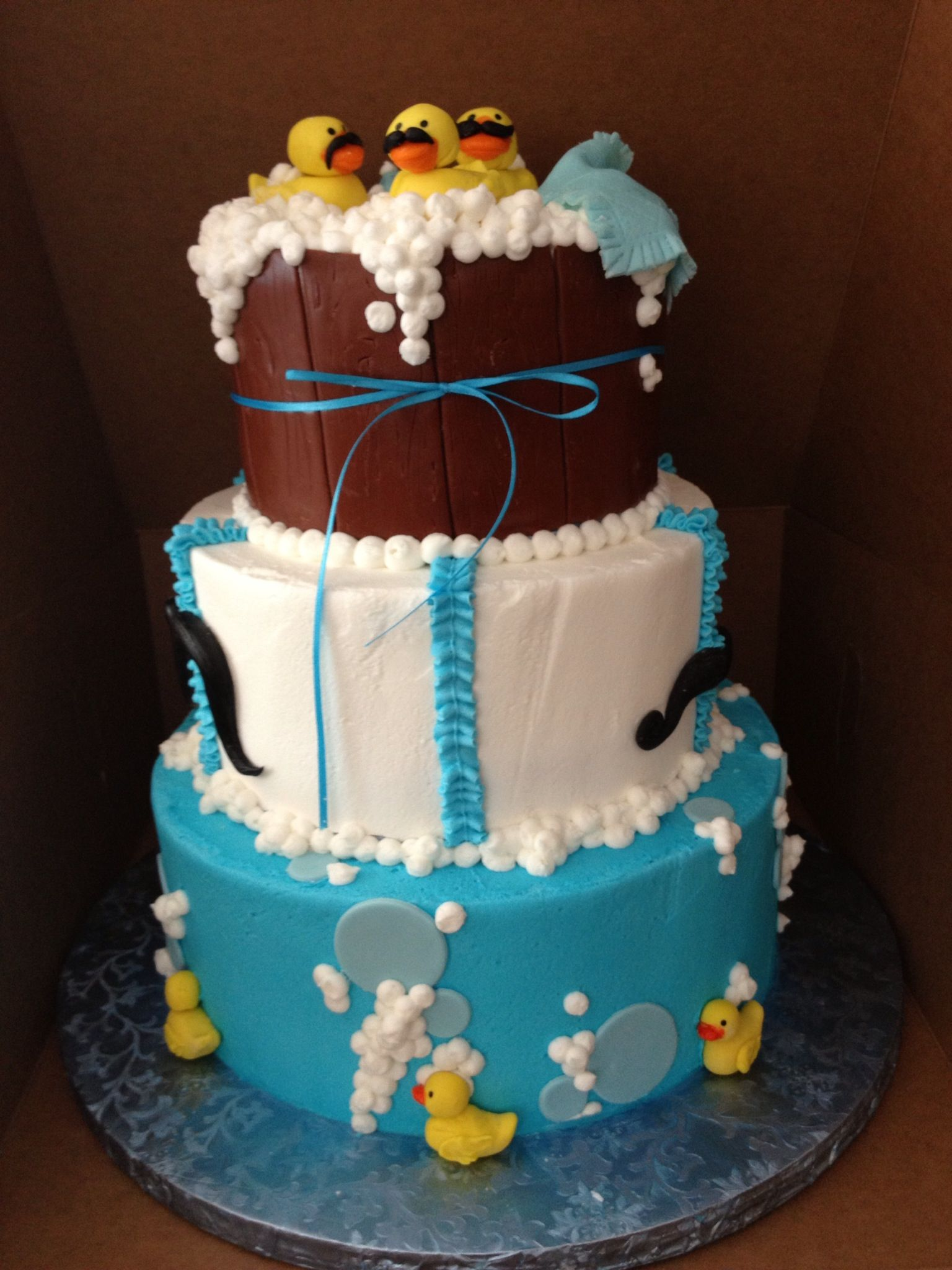 Mustache rubber duck theme baby shower cake