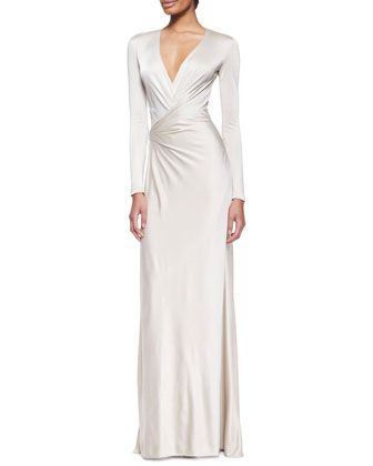 #dresses #gowns | Long Sleeve Jersey Evening Dress |
