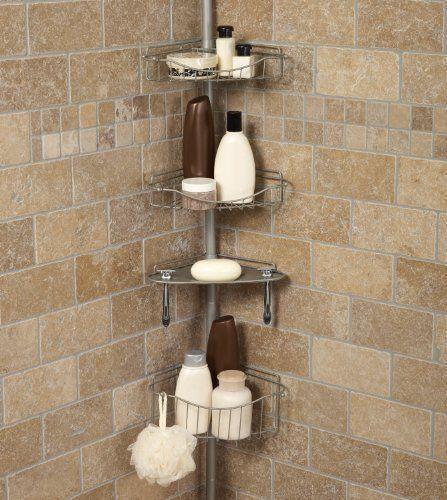 Zenith Bathstyles Tension Corner Pole Shower Caddy Satin Nickel ...