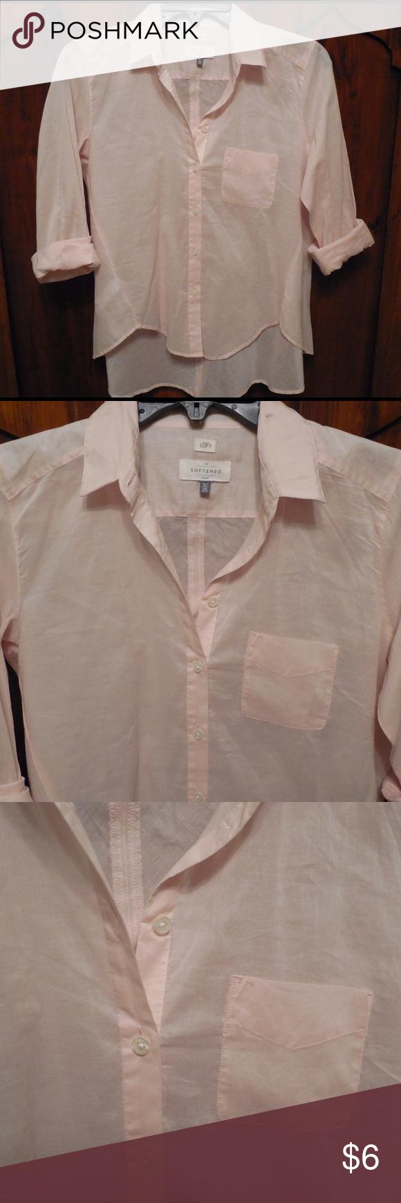 Loft button down shirt Light pink button down pocket shirt LOFT Tops