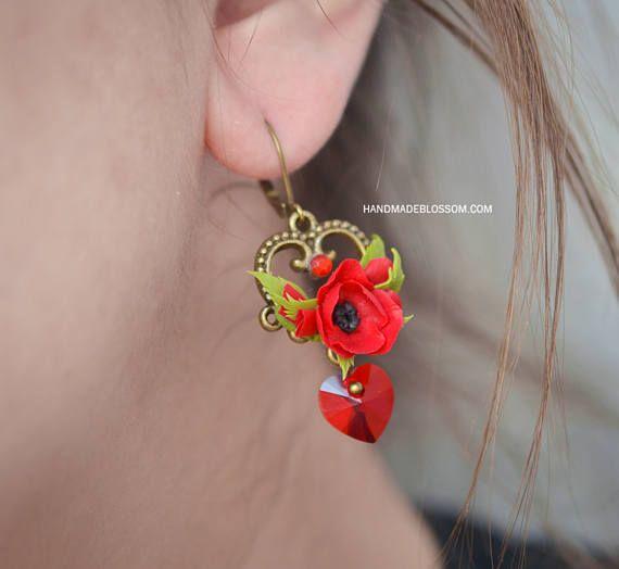 Red poppy clay earrings Red Swarovski earrings Red flower