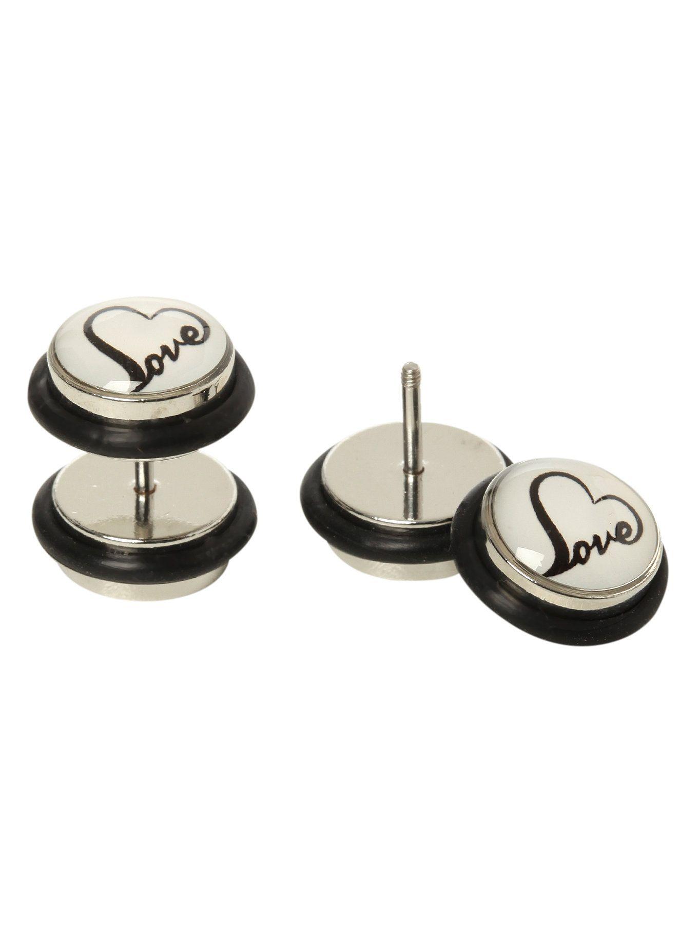Fake belly piercing  Heart Love Faux Plug Earrings  Wanelo  Pinterest  Body jewelry
