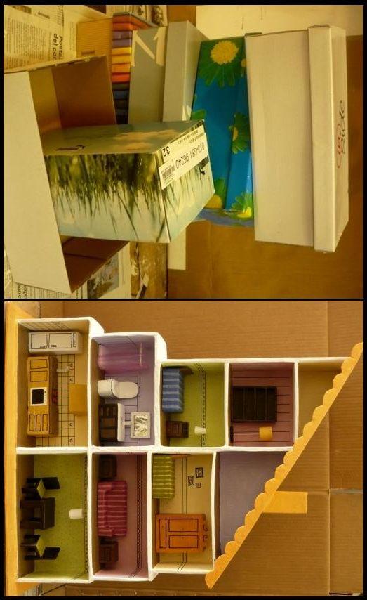 Pin De Mariana Flores En Casa De Muneca Casas De Carton Casas De Munecas Manualidades