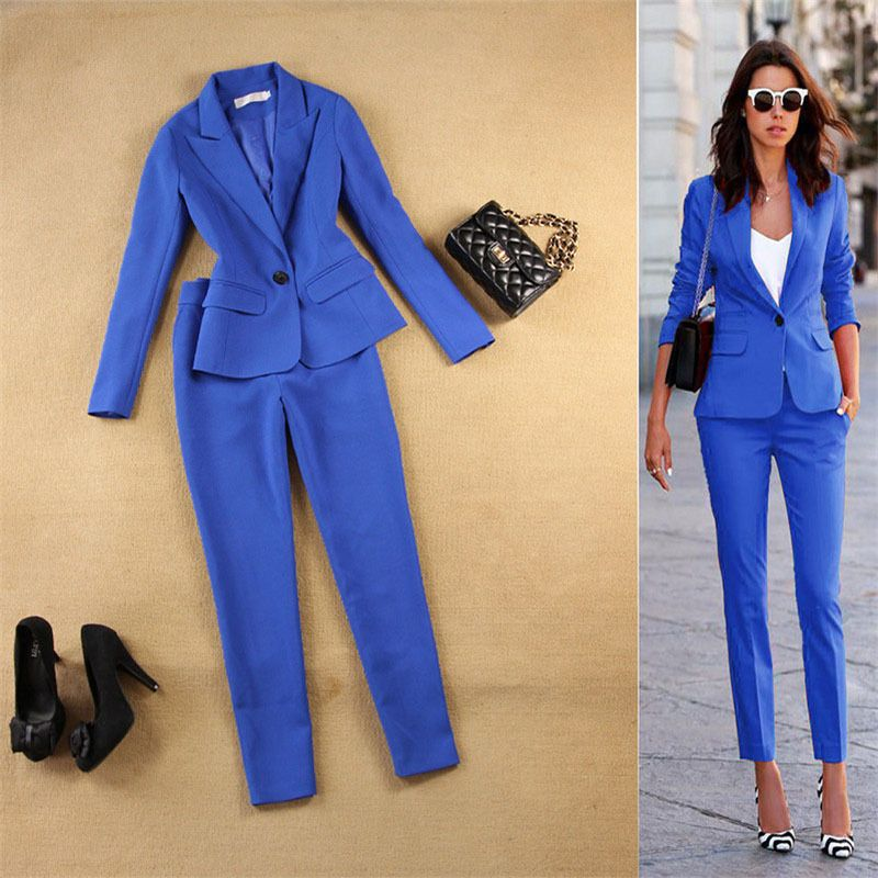 Blue Pant Suit Womens