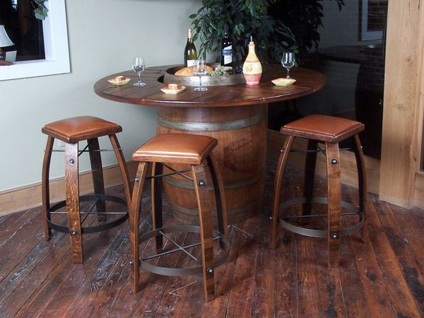 That S A Nice Looking Table Chair Set Barrel Table Wine Barrel Table Barrel Furniture