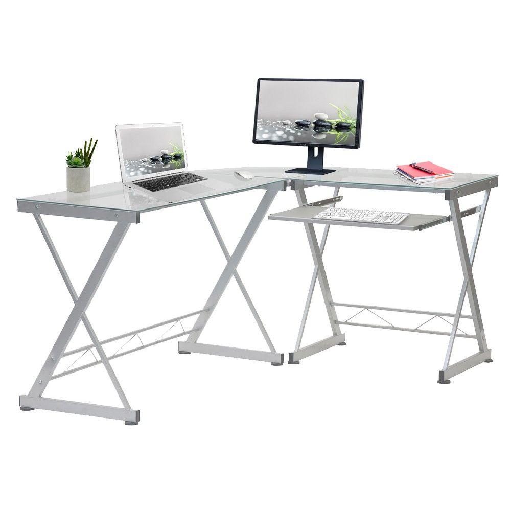 L Shaped Computer Desk Silver Clear Techni Mobili Glass Corner Desk L Shaped Glass Desk Desk With Keyboard Tray