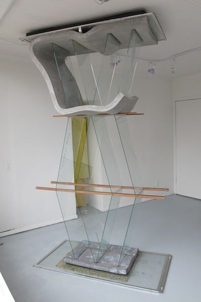 Dave Hardy That Dead Man Sings, 2013 glass, cement, polyurethane foam, ink, aluminum, and wood 104(variable) x 56 x 28 inches