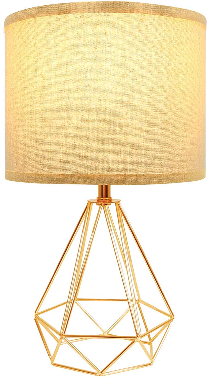 Hong In Modern Gold Table Lamps Geometric Hollowed Out Base 15 2 Bedside Gold Lamps For Bedroom L Modern Gold Table Lamps Bedside Lamp Modern Gold Table Lamp
