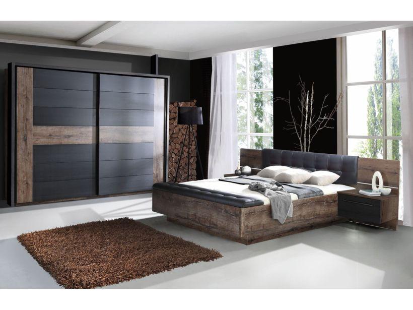 Wohnwand und Sideboard weiss Glanz und Sonoma Eiche mit Lichtleiste - schlafzimmer set 180x200