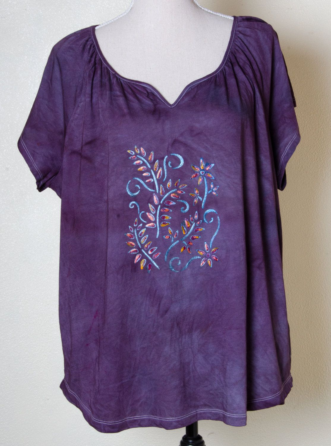 Earthy clothing hand dyed painted plum cotton boho yoga hippie top hippy plus…