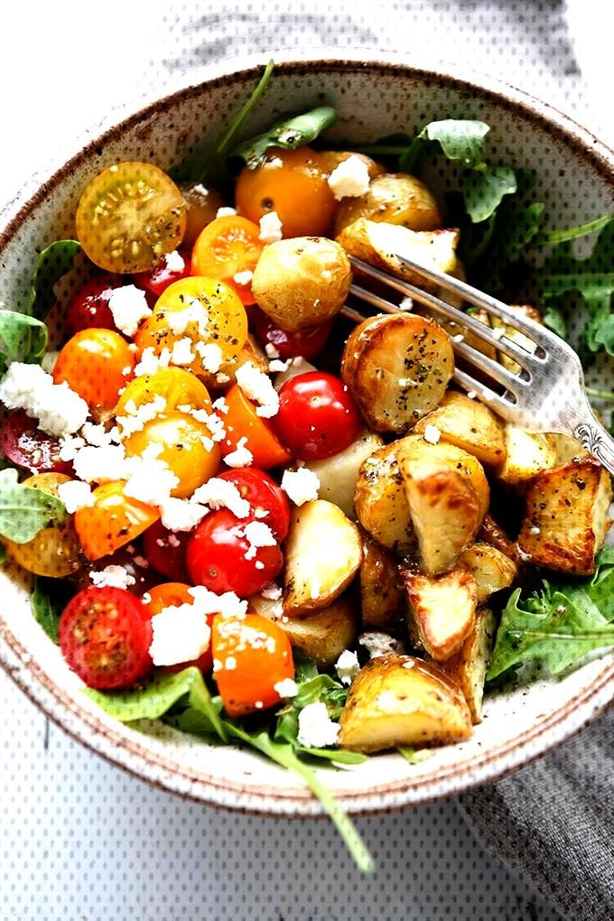 Potato Power Bowl with Garlic Olive Oil Dressing - Cooking Carousel - -
