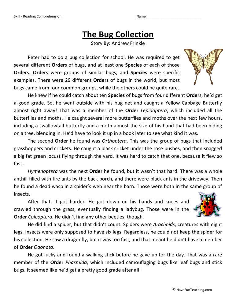 7th Grade free 7th grade reading comprehension worksheets : Bug Collection Fifth Grade Reading Comprehension Worksheet ...