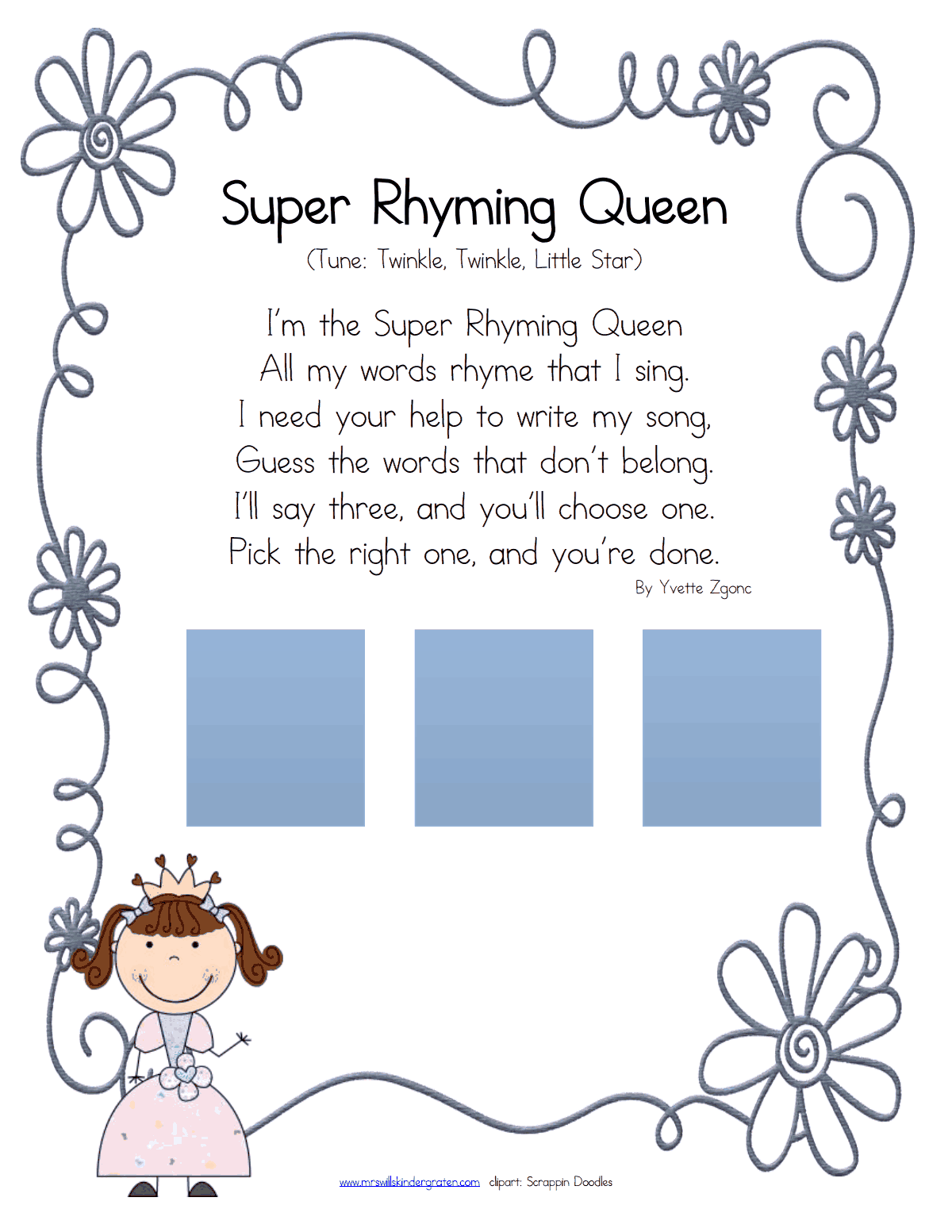 super rhyming queen.pdf | Rhyming words | Pinterest | Rhyming words ...
