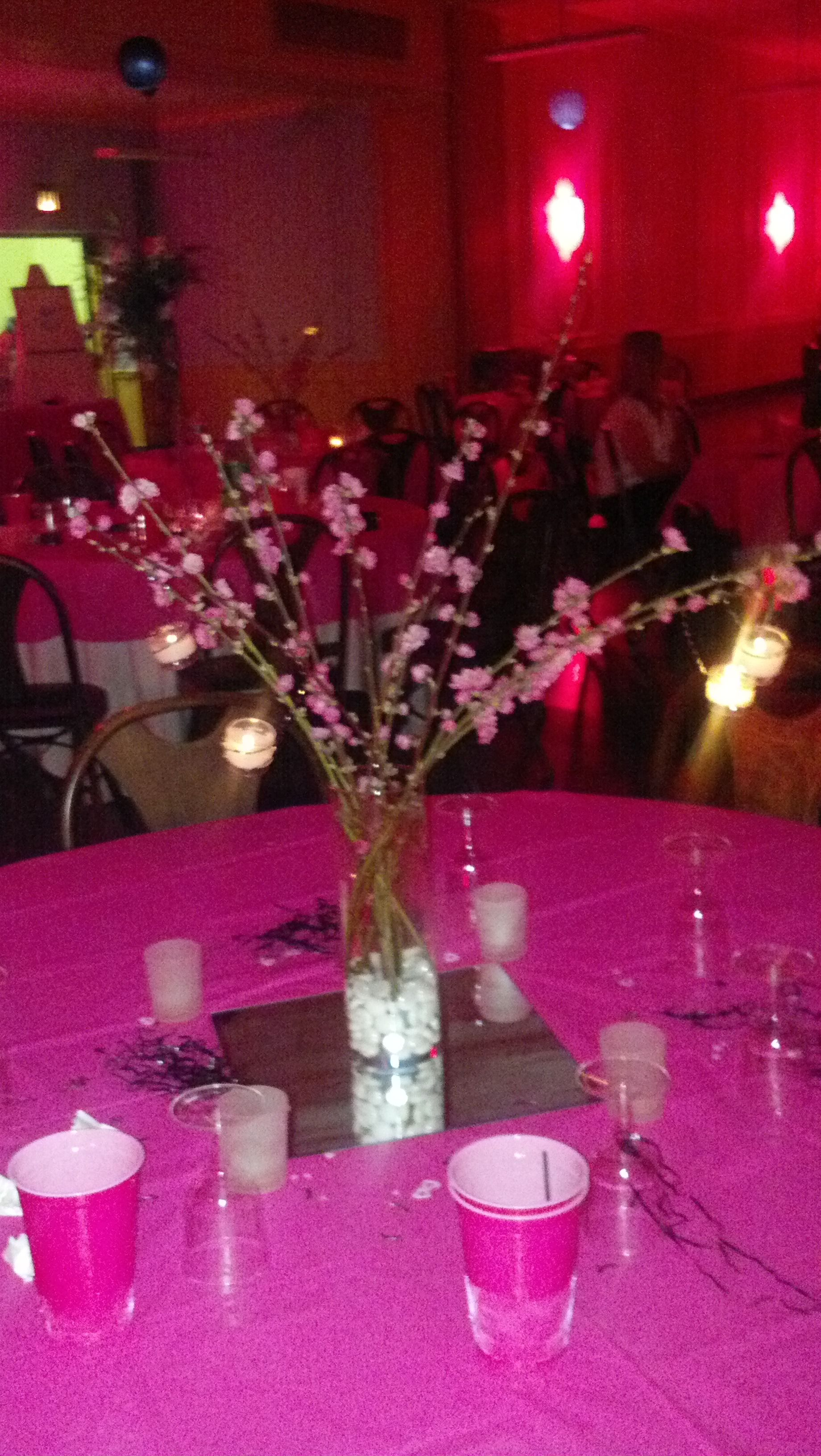 Hot pink wedding center pieces with hanging candles just needs hot pink wedding center pieces with hanging candles just needs black table cloth but junglespirit Image collections