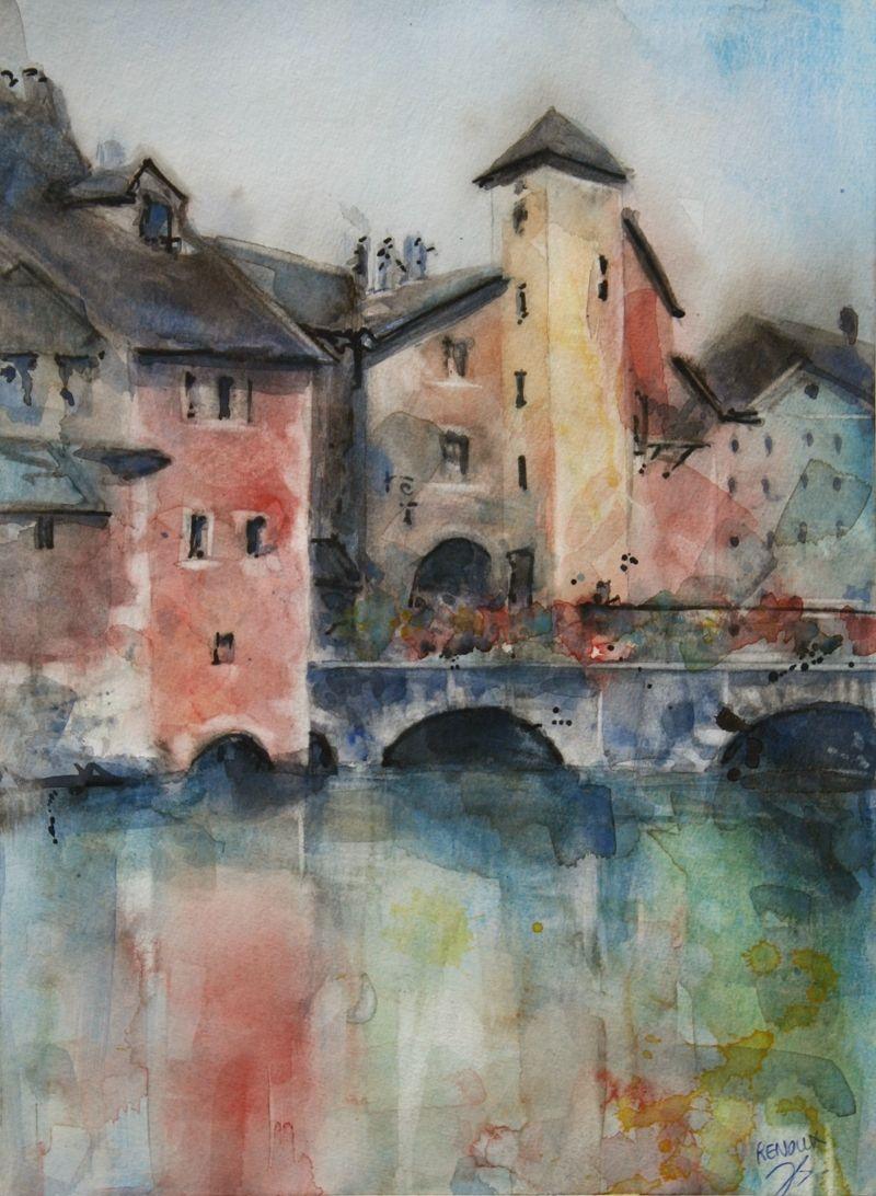 Aquarelle Du Vieil Annecy Watercolor Of Annecy Ville Ancienne