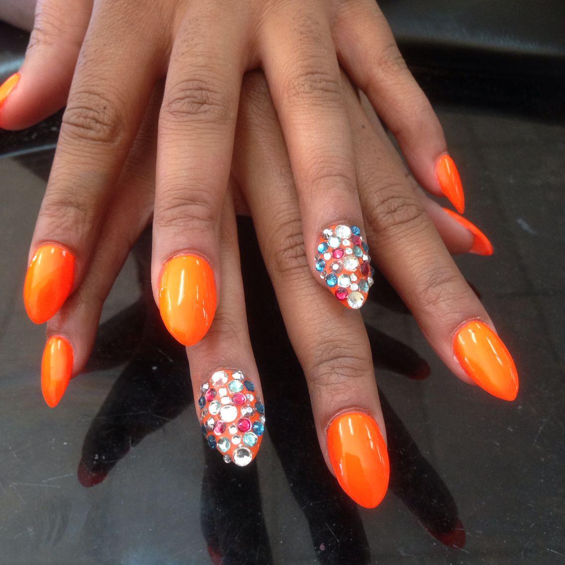 Orange rhinestone nail design - Orange Rhinestone Nail Design Acrylic Nail Pinterest